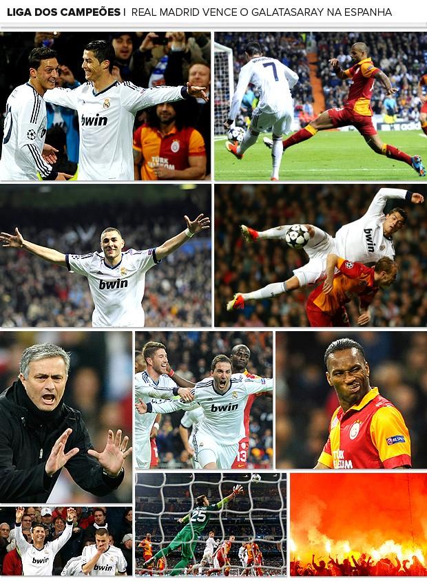 Mosaico Real Madrid Galatsaray Liga dos Campeões (Foto: Editoria de Arte / Globoesporte.com)