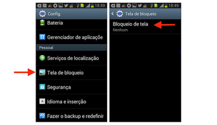 Acessando as opções para tela de bloqueio do Galaxy Gran Duos (Foto: Reprodução/Marvin Costa)