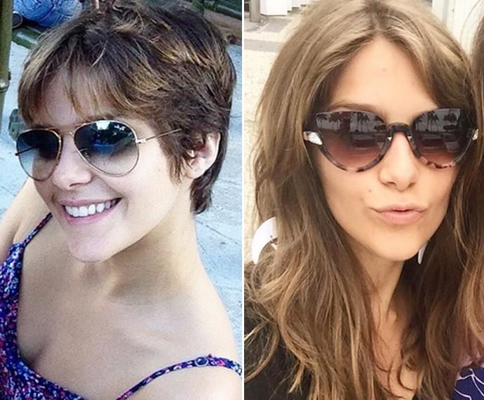 À esquerda, Isabella aparece com os cabelos curtos e à direita com o novo visual: madeixas longas (Foto: Arquivo pessoal)