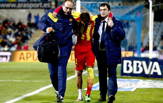 Neymar machucado jogo Barcelona e Getafe (Foto: AFP)