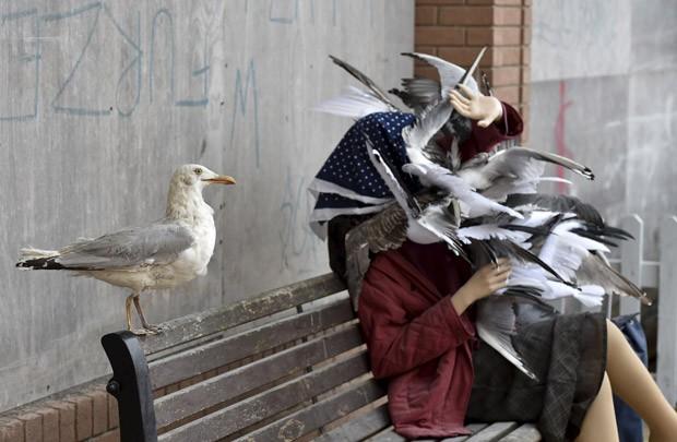 Escultura de Banksy mostra uma mulher sendo atacada por gaivotas em um banco de praça ao lado de outra ave (Foto: Toby Melville/Reuters)