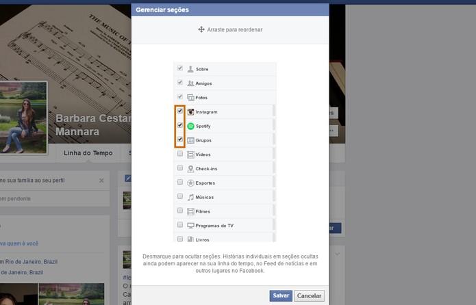 Marque o que deseja exibir no seu perfil do Facebook (Foto: Reprodução/Barbara Mannara)