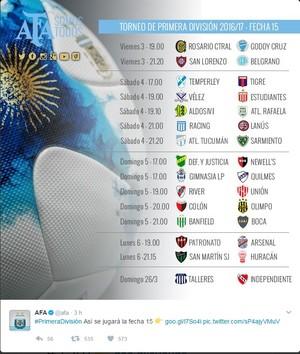 AFA divulga tabela da 15ª do Argentino em meio a crise (Foto: Reprodução/Twitter)