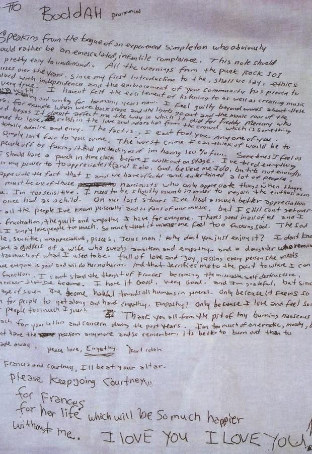 A cópia da carta de que a viúva de Kurt, Courtney Love, apresentou após suas morte (Foto: Reprodução)