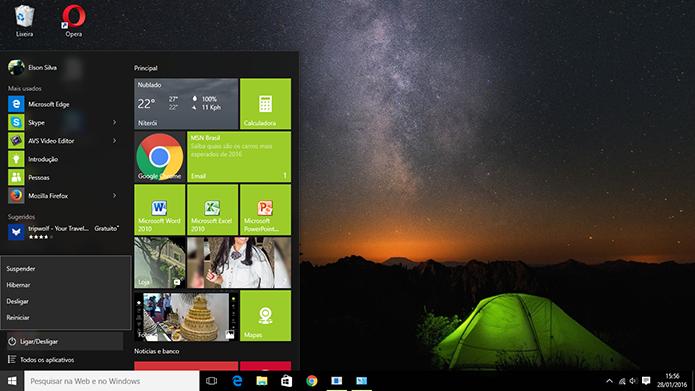 Hibernar foi adicionado ao botão de energia do menu Iniciar do Windows 10 (Foto: Reprodução/Elson de Souza)