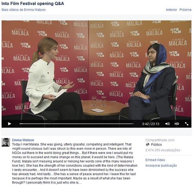 Emma entrevista Malala e fala sobre feminismo. (Foto: Reprodução/Facebook)