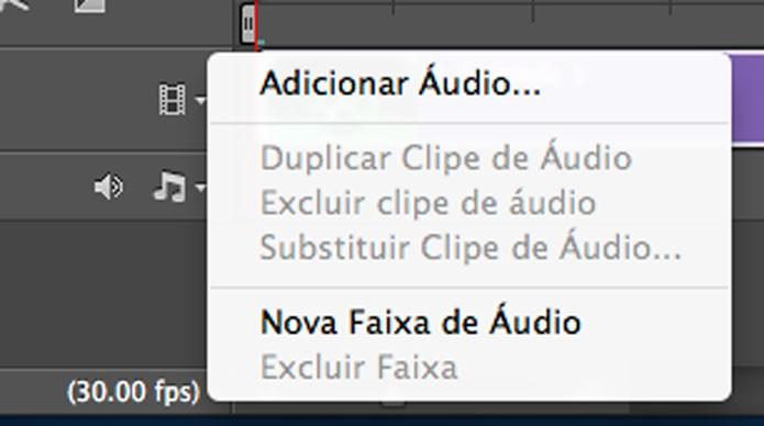 Opções de edição de áudio na  Linha do tempo (Foto: Reprodução/André Sugai)