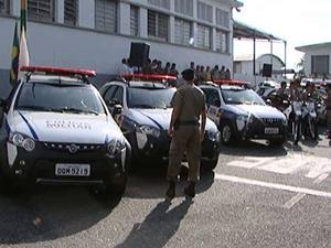 Batalhão da PM recebe novas viaturas em Divinópolis (Foto: Reprodução/TV Integração)