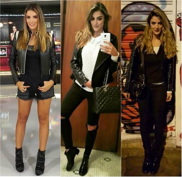 Rafa Brites adora usar jaqueta de couro preta tradiconal com peças mais modernas (Foto: Reprodução do Instagram)