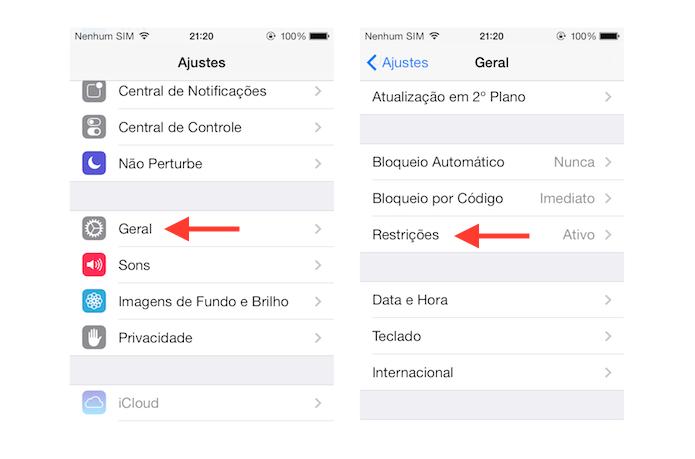 Acessando a página de restrições do iOS (Foto: Reprodução/Marvin Costa)
