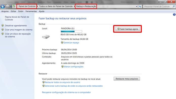 Faça um backup com a ferramenta nativa, localizada no Painel de Controle (Foto: Reprodução/Daniel Ribeiro)