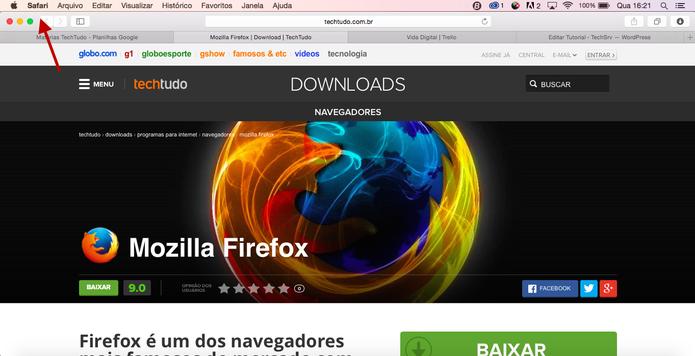 Clique em Safari, lá em cima no navegador para alterar o tamanho da fonte (Reprodução/ Gabriella Fiszman)