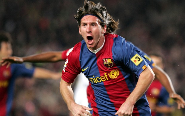 Messi primeiro hat-trick Barcelona Real Madrid 2007