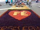 Fiéis elaboram tradicionais tapetes de Corpus Christi em Praia Grande, SP
