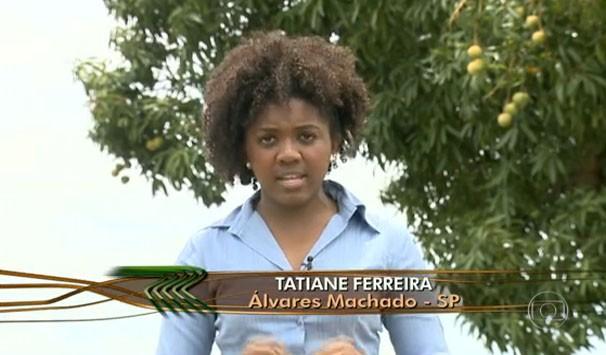 Tatiane Ferreira apresentou a matéria exibida no Globo Rural (Foto: Reprodução/TV Fronteira)