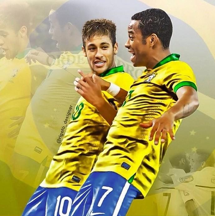 arte Neymar e Robinho seleção brasl Post (Foto: Reprodução/Instagram)