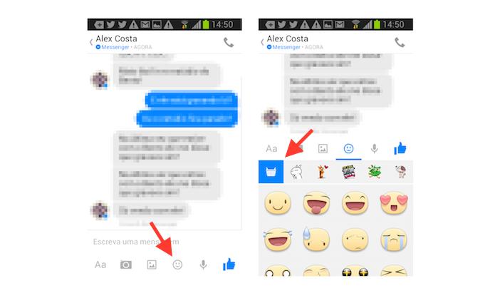 Acessando a loja de figurinhas do Facebook Messenger no Android (Foto: Reprodução/Marvin Costa)