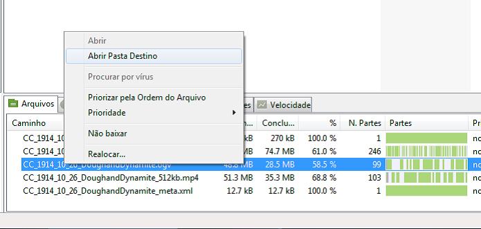 Abrindo a pasta onde o uTorrent baixa os arquivos (Foto: Reprodução/Edivaldo Brito)