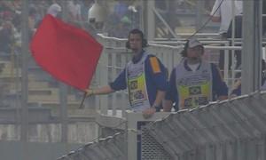 Bandeira vermelha em razão de problema em McLaren de Fernando Alonso (Foto: Divulgação)