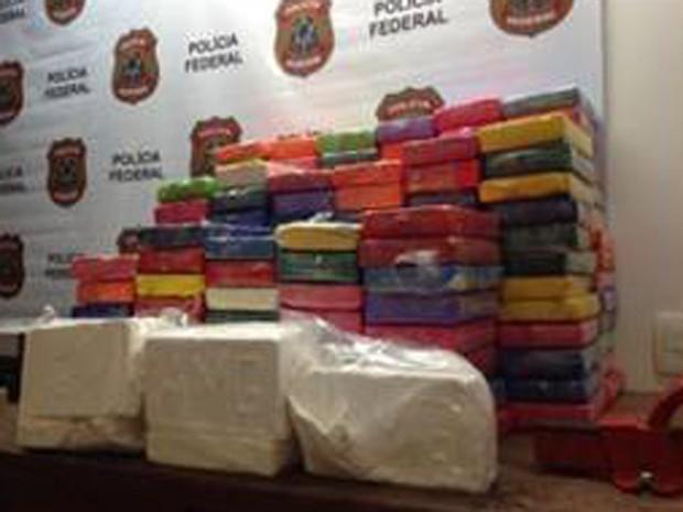 Cocaína apreendida pela Polícia Federal  (Foto: Divulgação/ Polícia Federal)