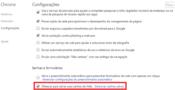 Configuração de armazenamento de senha no Google Chrome (Foto: Reprodução/ Marcela Vaz)