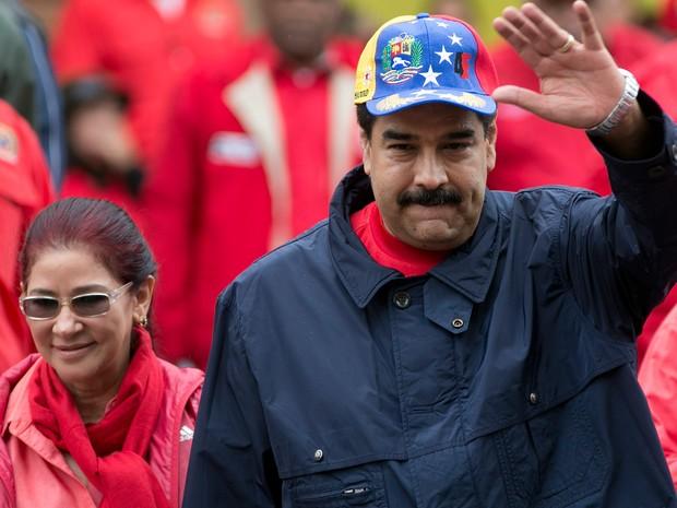 O presidente da Venezuela Nicolas Maduro no 1º de maio em Caracas  (Foto: Ariana Cubillos/AP)