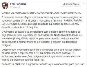 Carta da FNH - governador
