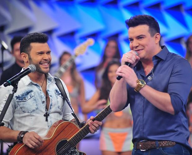 Marcos e Belutti participam do Domingão (Foto: Reinaldo Marques / TV Globo)