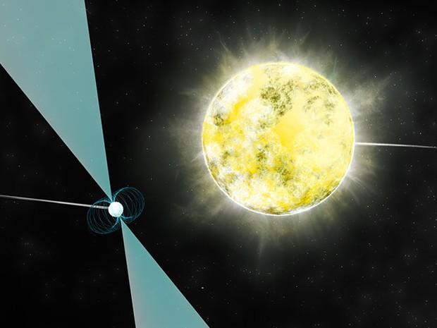 Concepção artística da anã branca em órbita com o pulsar PSR J2222-0137 (Foto:  B.Saxton/NRAO/AUI/NSF  )