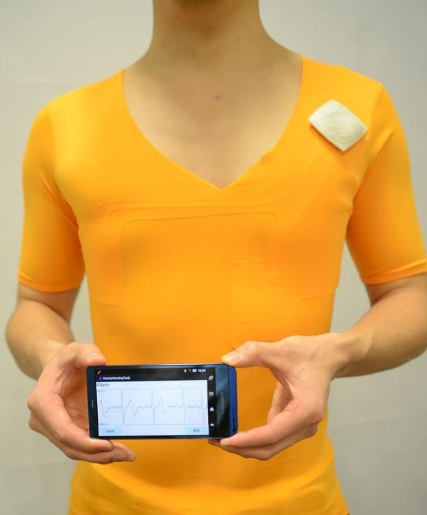 Camiseta feita com tecido 'hitoe' é capaz de medir a frequência cardíaca do usuário (Foto: Toray/Divulgação)