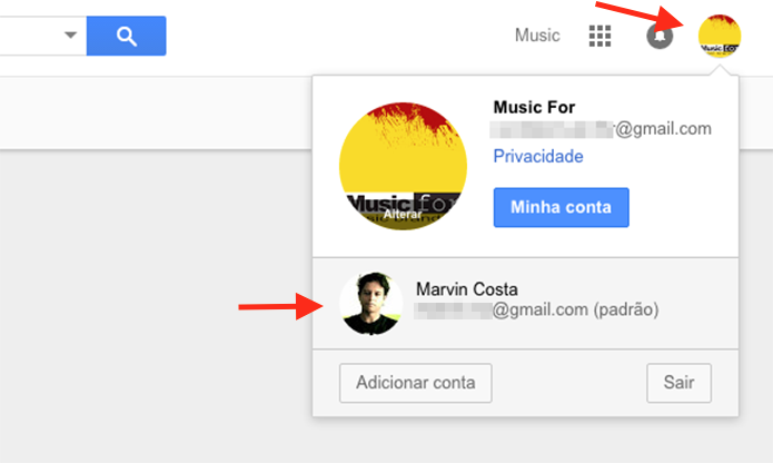 Alternando entre as contas do Google Drive logadas no navegador web do computador (Foto: Reprodução/Marvin Costa)