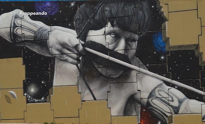 Grafite feito em viaduto de Manaus chama atenção pelo realismo (Foto: Rede Amazônica)