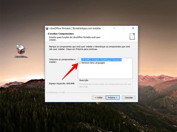 Para economizar espaço, evite instalar outros idiomas além do português (Foto: Reprodução/Filipe Garrett)
