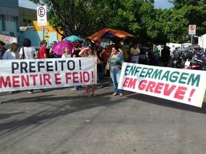 Enfermeiros fazem paralisação em Cuiabá nesta sexta-feira (18) (Foto: Divulgação/Sinpen-MT)