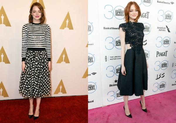 Emma com dois looks recentes em que optou por saia e vestido midi (Foto: Getty Images)