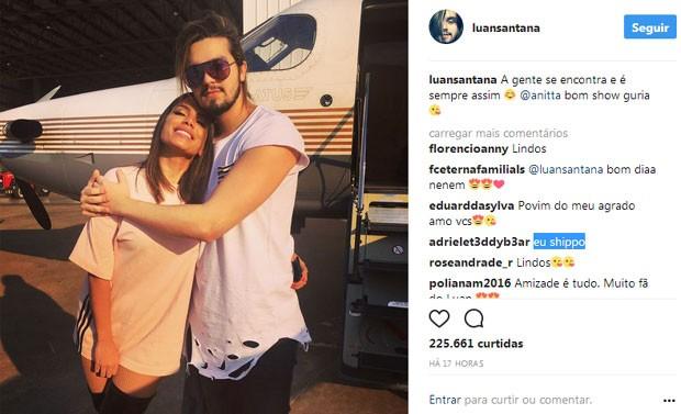 Fãs shippam Luan Santana e Anitta (Foto: Reprodução)