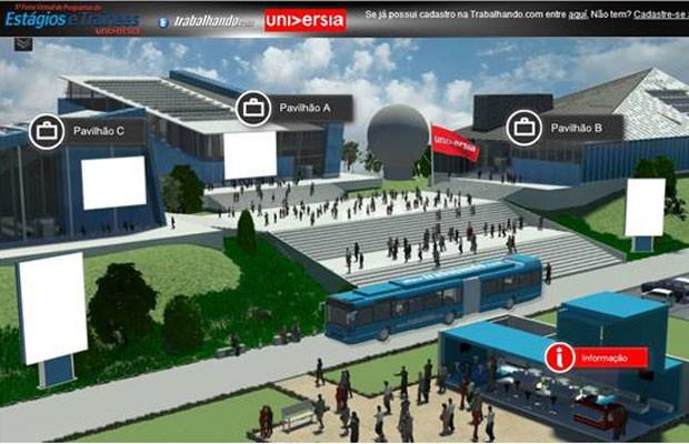 Ambiente virtual da feira de estágio e trainee (Foto: Reprodução/Divulgação)