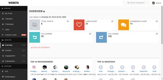 Site possui dados sobre número de seguidores e comentários no Instagram (Foto: Reprodução/Websta)