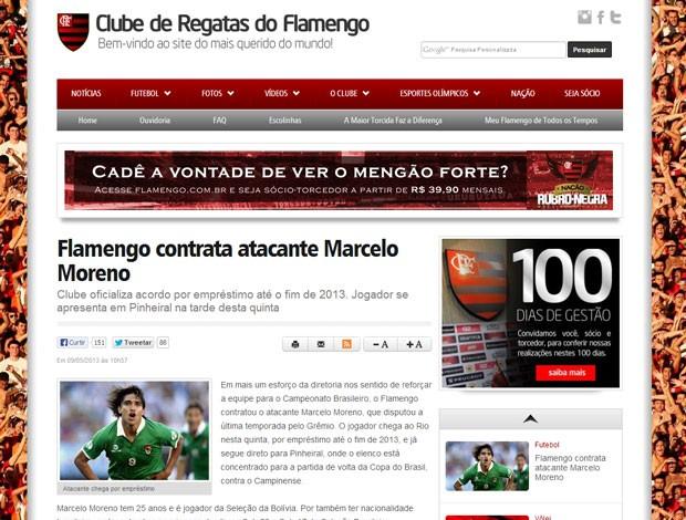 Reprodução site marcelo moreno flamengo contratação (Foto: Reprodução / Site Oficial do Flamengo)