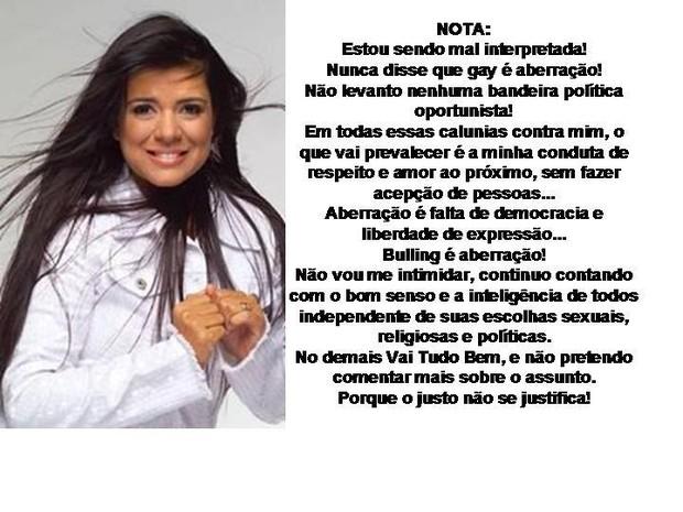 Mara Maravilha publica nota oficial (Foto: Twitter/ Reprodução)