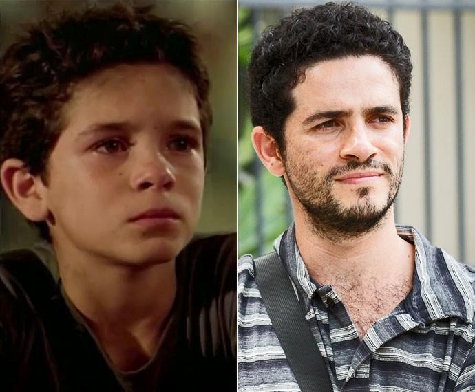 Compare o antes e depois: Vinícius de Oliveira como o Josué (à esquerda), e hoje (à direita) (Foto: TV Globo e Felipe Monteiro / Gshow)