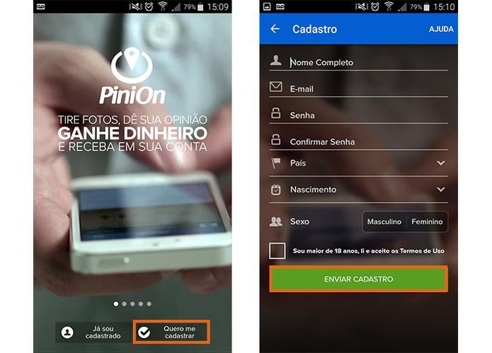 Faça o cadastro com suas informações pessoais no PiniOn (Foto: Reprodução/Barbara Mannara)