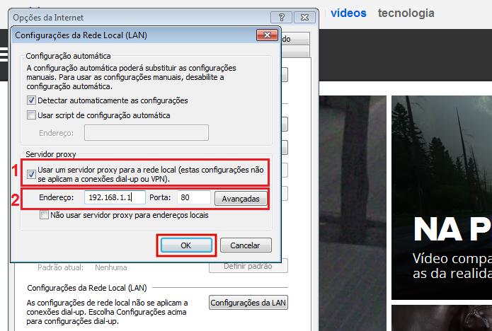 8f1b7a03d Colocando as configurações de proxy no Internet Explorer (Foto   Reprodução Edivaldo Brito)