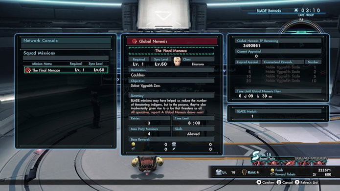 Xenoblade Chronicles X: missões online são renovadas periodicamente (Foto: Reprodução/Victor Teixeira)