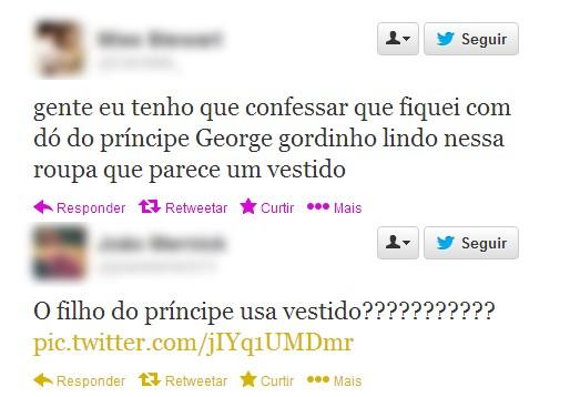 Comentários sobre 'vestido' de príncipe George no batizado (Foto: Reprodução / Twitter)