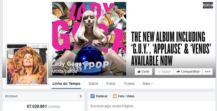 Lady Gaga tem página no Top 10 do FB (Foto: Reprodução/Facebook)