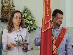 Casal de novos festeiros é anunciado em missa (Foto: Pedro Carlos Leite/G1)