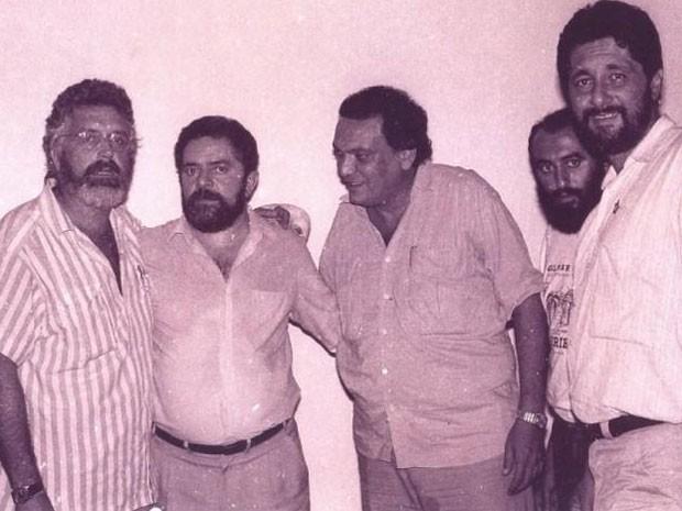 Foto de arquivo de Zezéu com Lula, José Gabrielli e outras lideranças do PT (Foto: Arquivo pessoal/Reprodução Facebook)