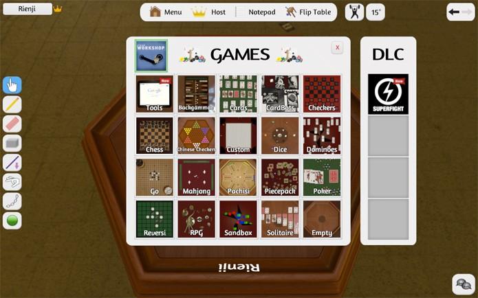 É possível escolher um dos jogos que acompanham o Tabletop ou usar um baixado (Foto: Reprodução/Felipe Vinha)