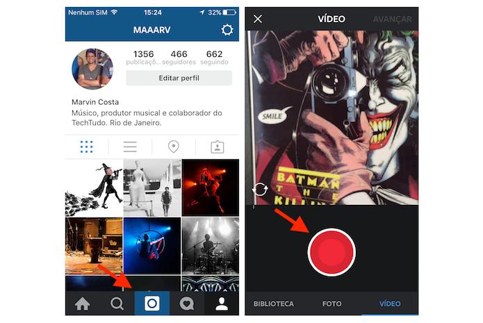 Gravando um vídeo com um minuto de duração no Instagram para iPhone (Foto: Reprodução/Marvin Costa)